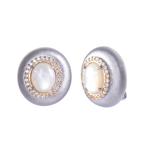 Engraved Oval Mother of Pearl Clip-on Button Two-tone Earrings