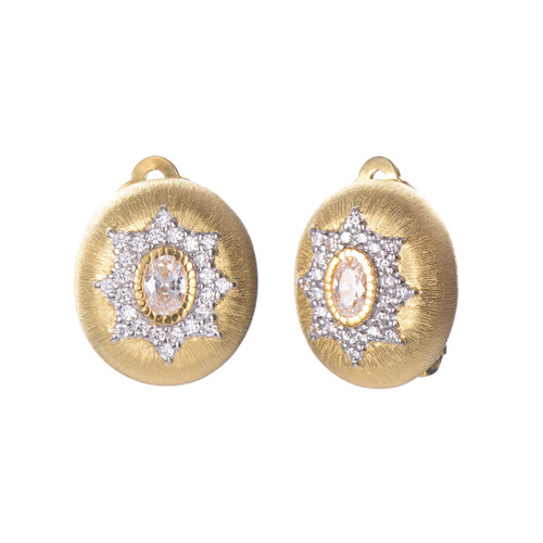 Engraved Oval CZ Oval Clip-on Button Vermeil Earrings