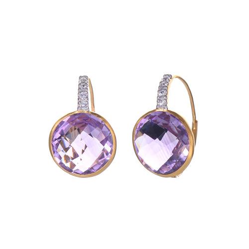 Round Amethyst Dangle Earrings