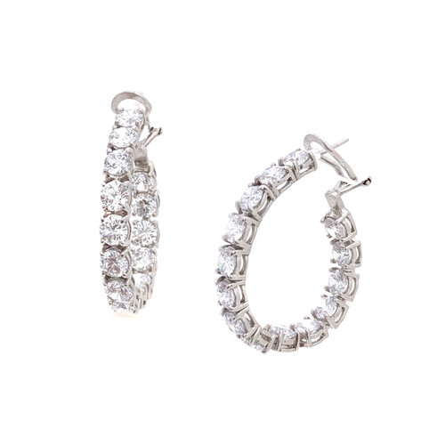 Faux Diamond Hoop Earrings