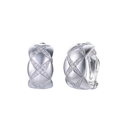 X-pattern Half Hoop Clip-on Earrings