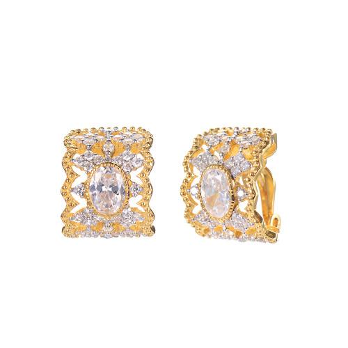 Oval Faux Diamond Center Half Hoop Clip-on Earrings