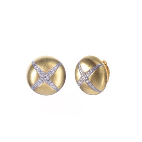 X-pattern Round Stud Vermeil Earrings