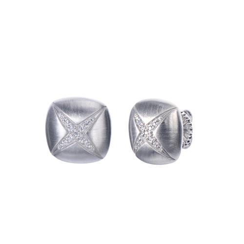 X-pattern Square Stud Earrings