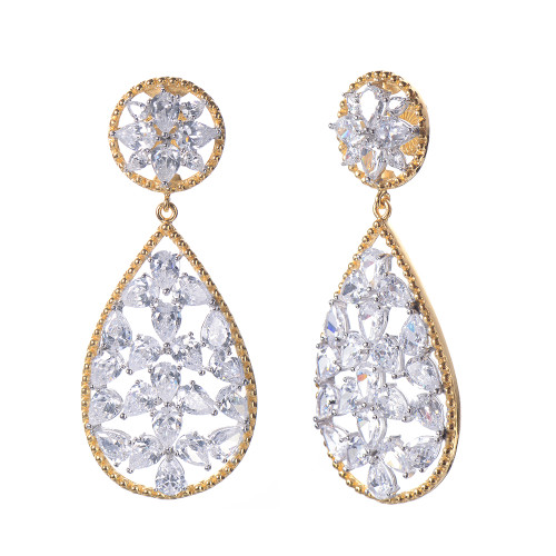 Pear Faux Diamond Large Tear Drop Earrings