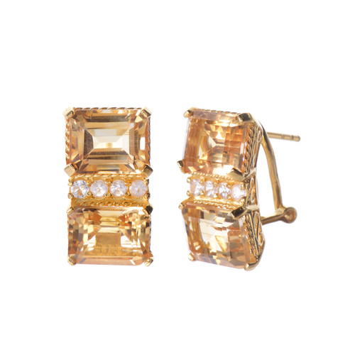 Double Octagon Citrine Vermeil Earrings