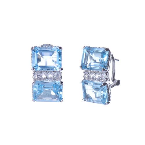 Double Octagon Blue Topaz Earrings