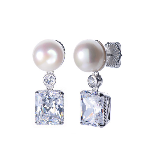 Cultured Pearl and Octagon Faux Diamond Drop Earrings