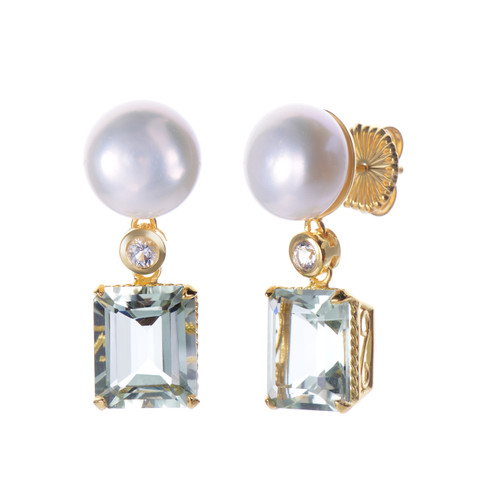 Cultured Pearl and Octagon Green Amethyst Drop Earrings