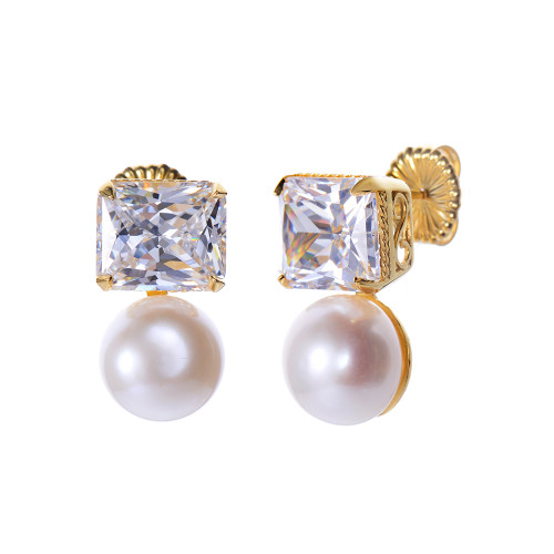 Octagon Faux Diamond and Cultured Pearl Vermeil Earrings