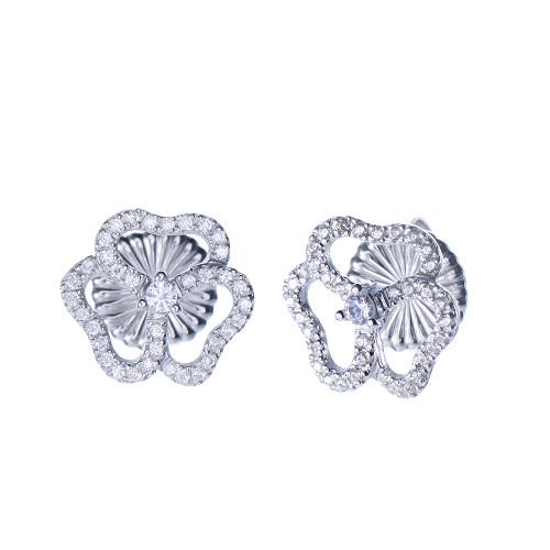 3 Petal Flower Stud Earrings