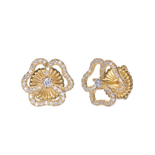 3 Petal Flower Stud Vermeil Earrings