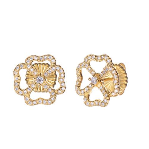 4 Petal Flower Stud Vermeil Earrings