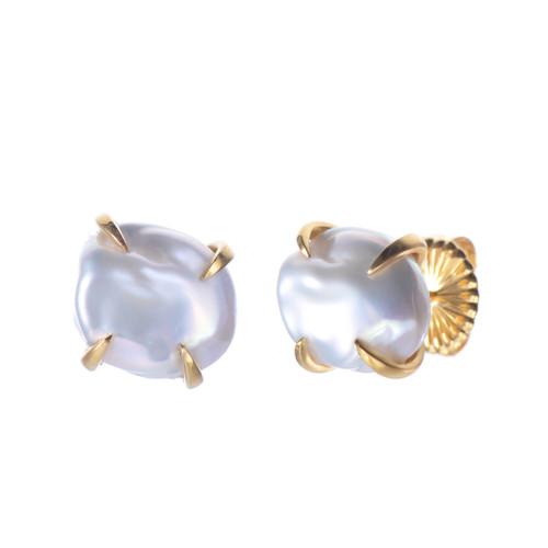 Cultured Baroque Pearl Small Stud Vermeil Earrings