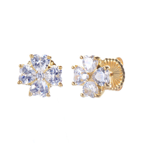 Faux Diamond Flower Stud Vermeil Earrings