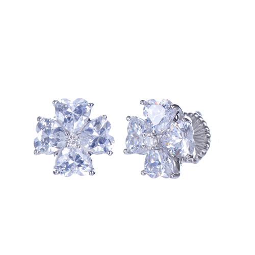 Faux Diamond Flower Button Earrings