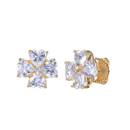 Faux Diamond Flower Button Vermeil Earrings