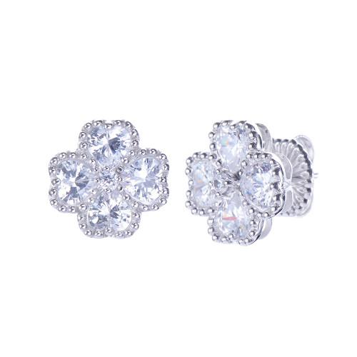 Bezel-set Faux Diamond Flower Button Earrings