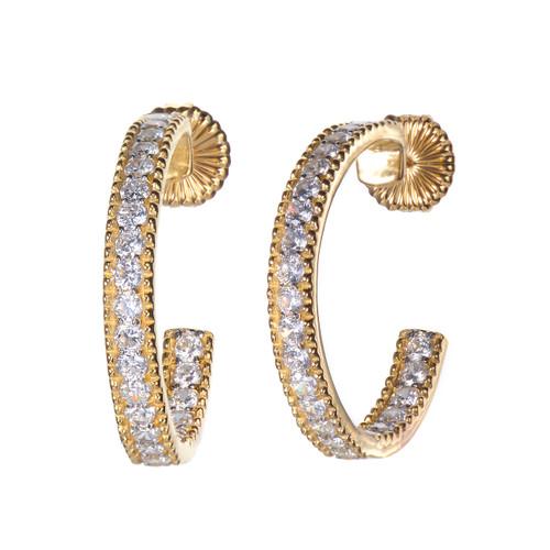 Beaded Trim Faux Diamond Vermeil Hoop Earrings