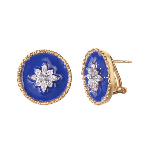 Flower Pattern Round Blue Enamel Button Vermeil Earrings