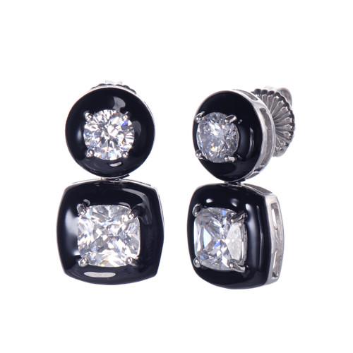 Cushion Black Enamel CZ Drop Earrings