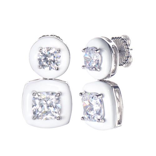 Cushion White Enamel CZ Drop Earrings