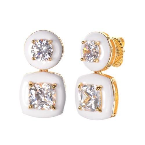 Cushion White Enamel CZ Drop Vermeil Earrings