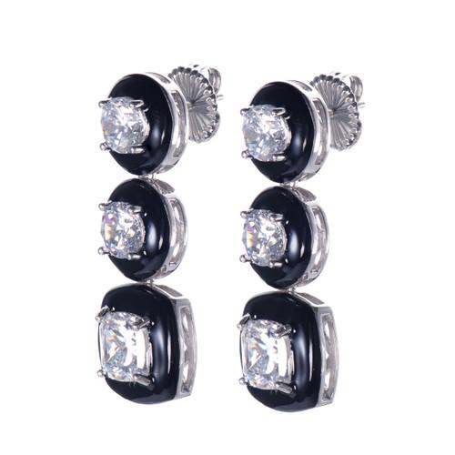 Cushion Black Enamel CZ Long Drop Earrings