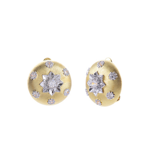 Engraved Flower Pattern Round Button Vermeil Clip-on Earrings in Gold Plate