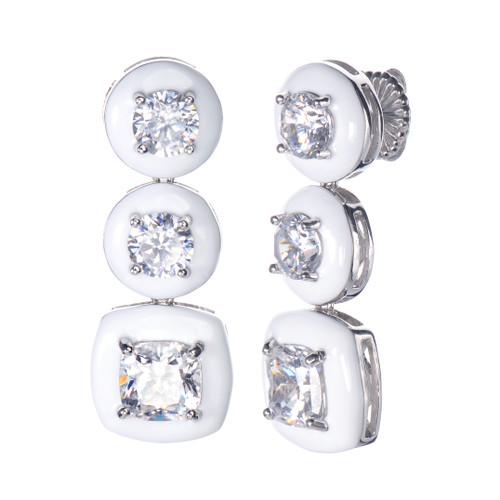 Cushion White Enamel CZ Long Drop Earrings