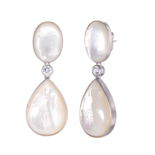 Large Oval  & Pear Mother of Pearl Drop Earrings