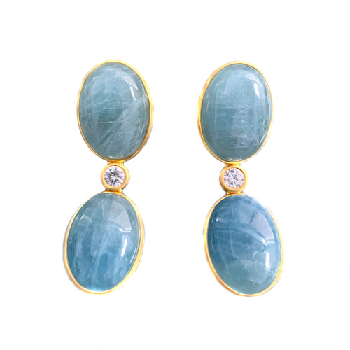 Double Oval Aquamarine Drop Earrings