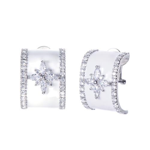 Flower Pattern White Enamel C-shape Earrings