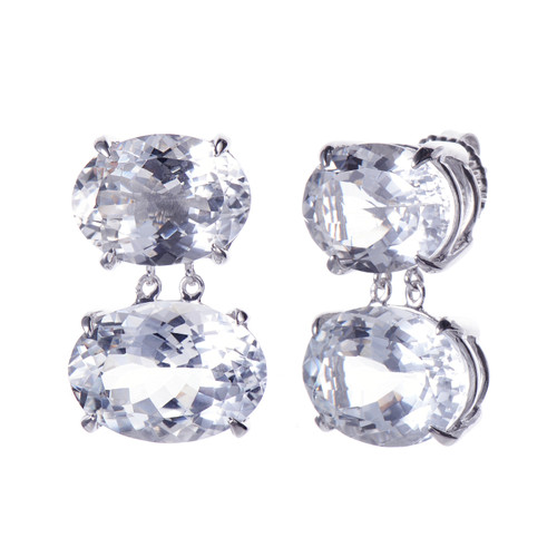 Double Oval Large White Topaz Drop Earrings