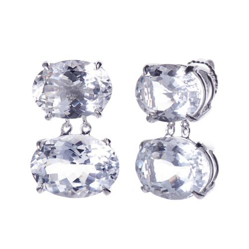 Double Oval Large White Topaz Drop Earrings