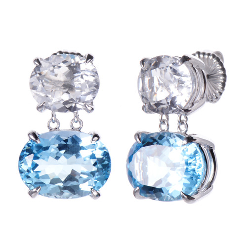 Double Oval Med White Topaz and Blue Topaz Drop Earrings