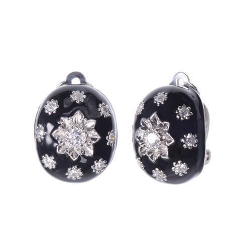 Engraved Flower Black Enamel Oval Button Clip-on Earrings