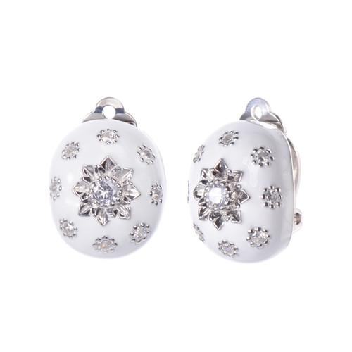 Engraved Flower White Enamel Oval Button Clip-on Earrings