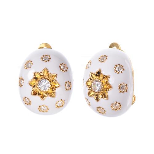 Engraved Flower White Enamel Oval Button Clip-on Vermeil Earrings