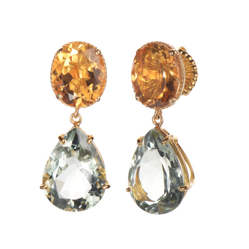 Oval Citrine and Pear Green Amethyst Drop Earrings