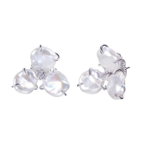 Cultured Keishi Pearl Flower Earrings