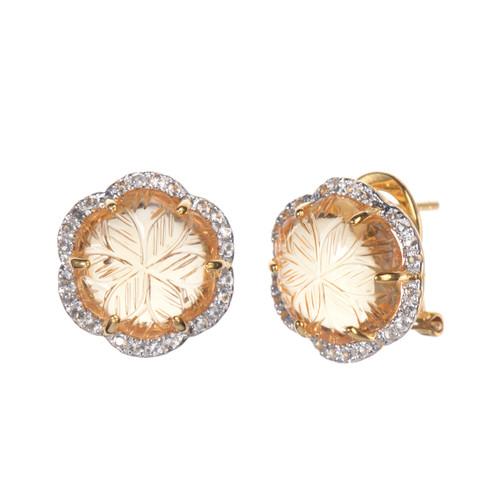Carved Citrine Flower Stud Earrings