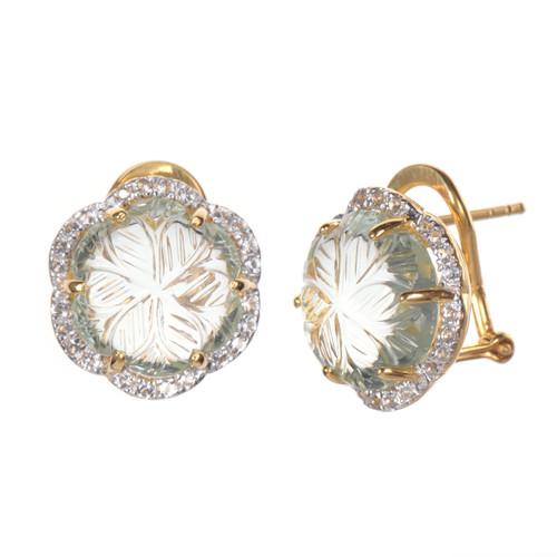 Carved Green Amethyst Flower Stud Earrings
