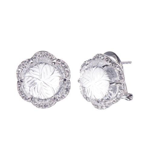 Carved Clear Quartz Flower Stud Earrings
