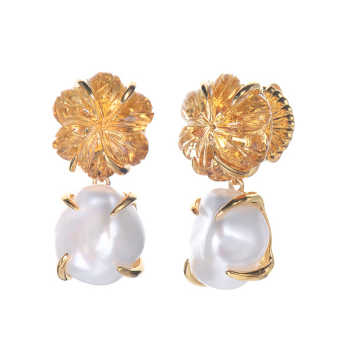 Carved Citrine Flower and Cultured Pearl Drop Earrings