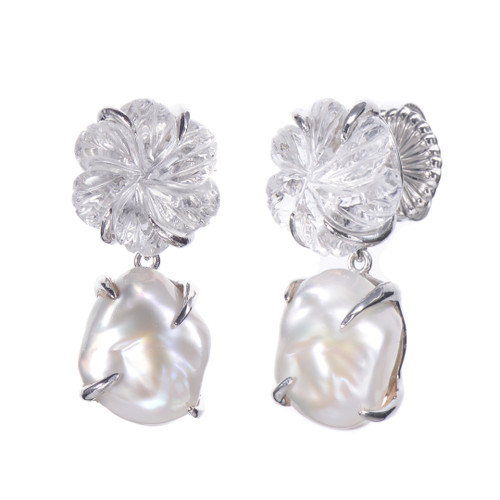 Carved Clear Quartz Flower and Cultured Pearl Drop Earrings