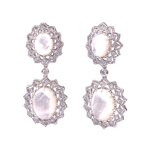 Large Oval Mother of Pearl Starburst Drop Earrings