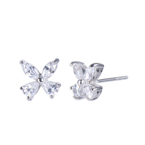 Butterfly CZ Stud Earrings