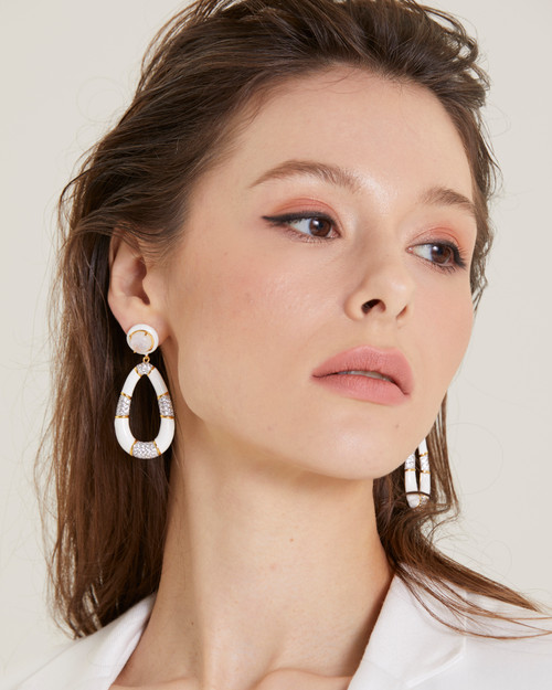 Door Knocker Pear Shape White Enamel Drop Vermeil Earrings