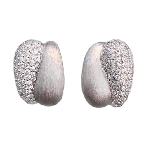 Half Pave Half Silver Earrings